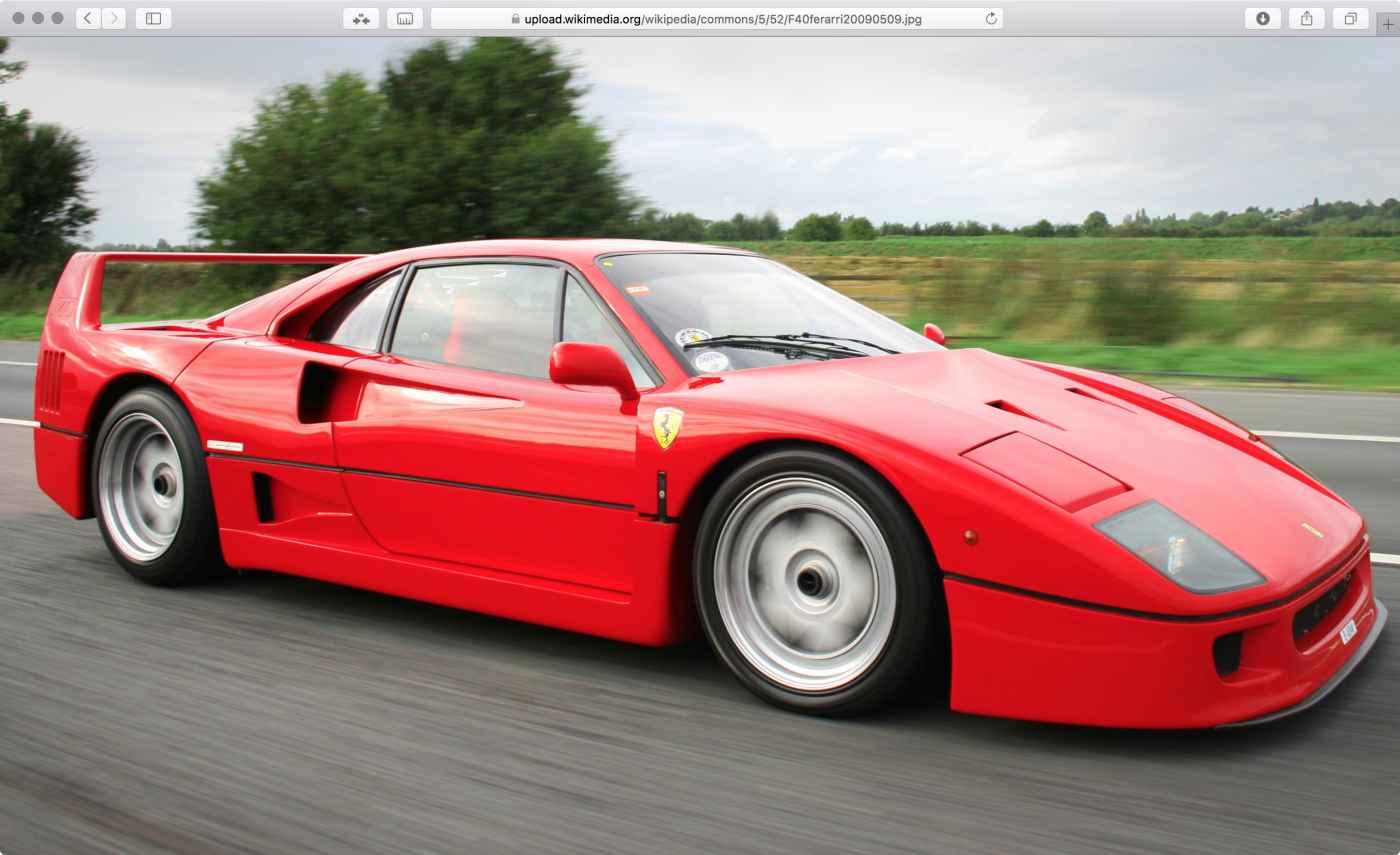 red Ferrari F40 displayed in a Safari web-browser window
