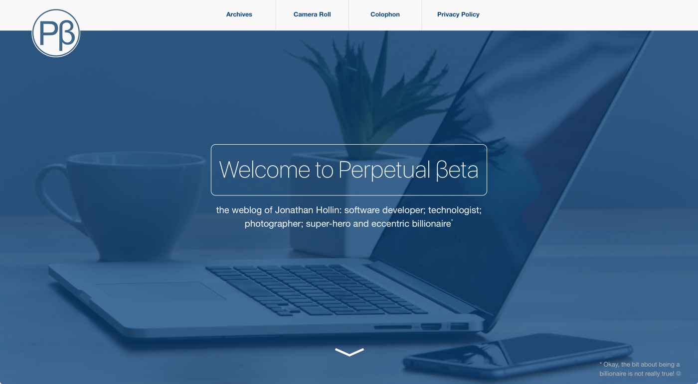 The Perpetual βeta home-page, December, 2015