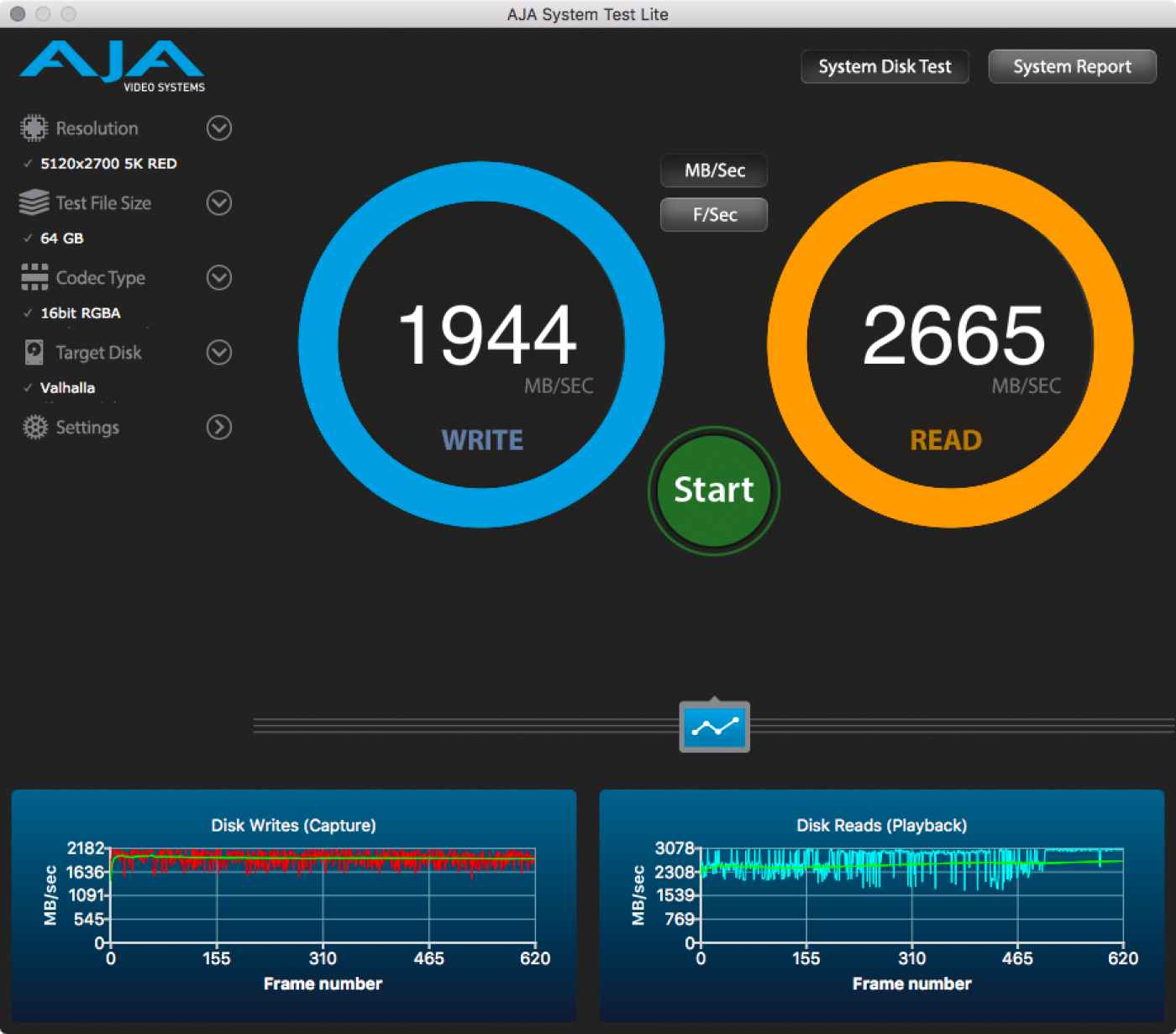 screen capture: AJA System Test, disk speed