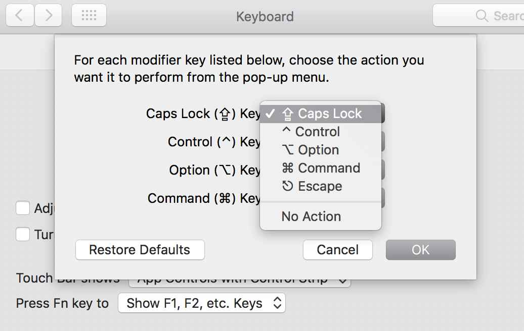 remapping options for the caps-lock key in MacOS Sierra