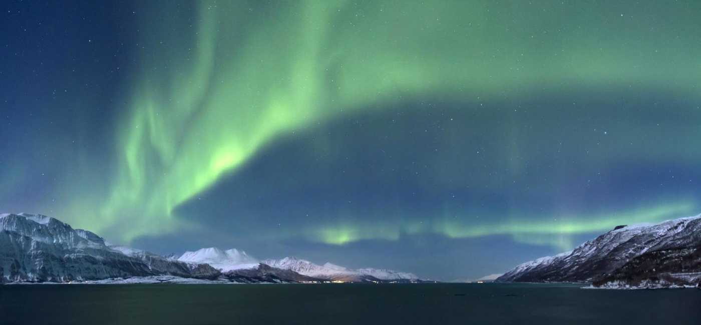 Aurora borealis above Lyngenfjorden