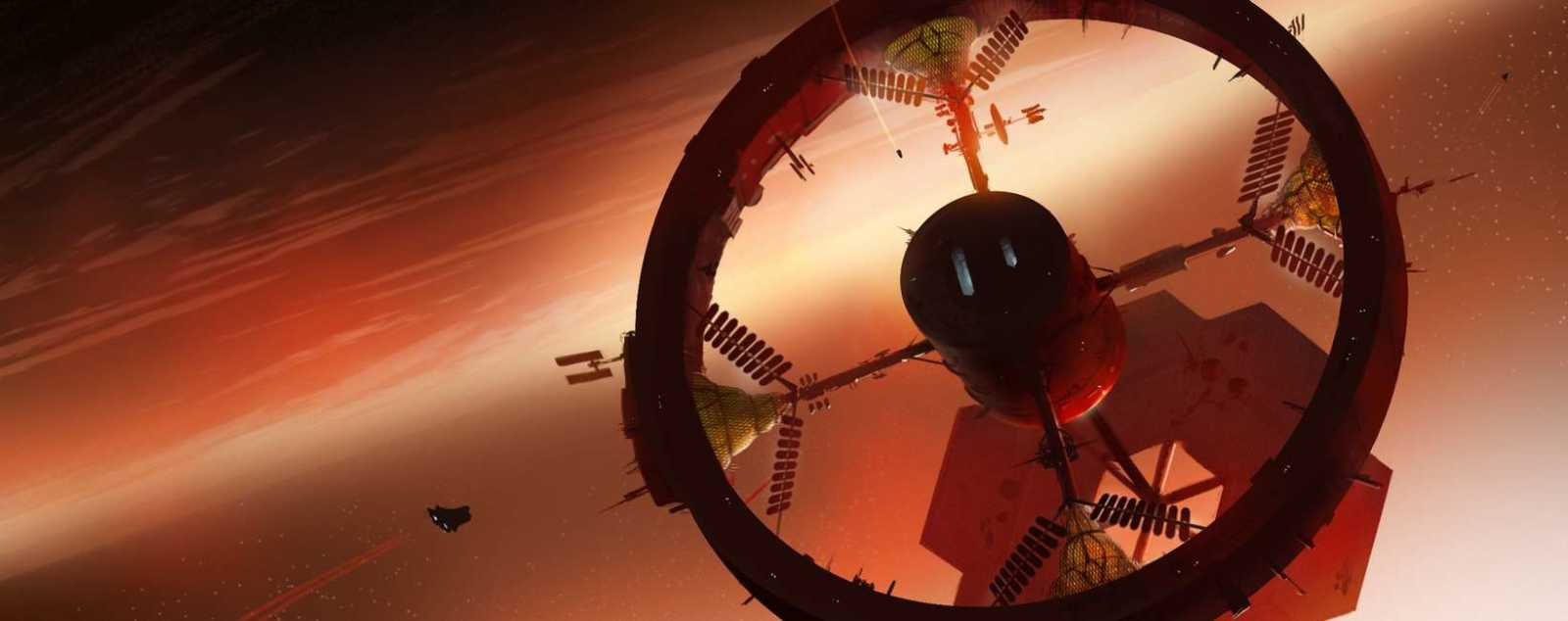 Space-ships approach a space-station in orbit around a planet.