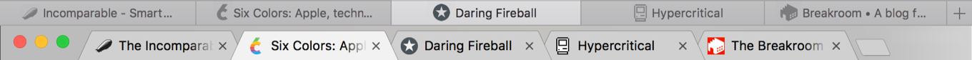 Jason Snell's mock-up of Safari with monochromatic favicons in tabs, compared with a screen capture of Chrome showing the same but with coloured favicons
