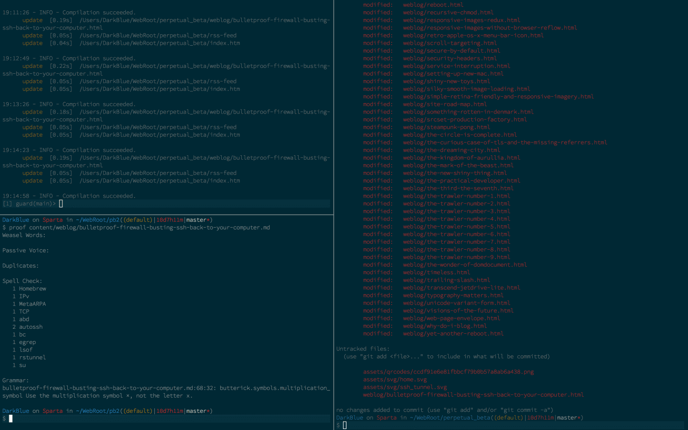 iTerm terminal emulator software, with three windowed sessions in progress