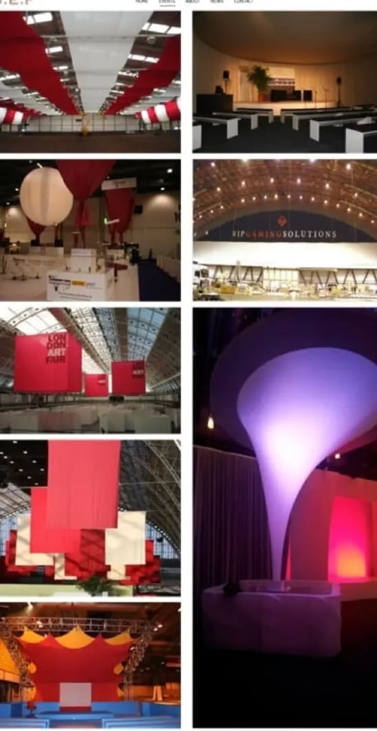 A variety of different shows showing design and build by Stitch Exhibition Fabrics