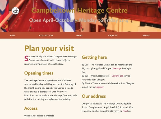 Plan your vist webpage for the Heritage Centre website