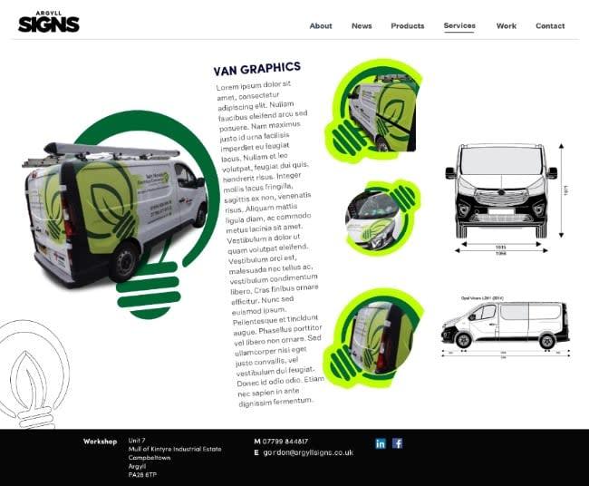 Argyll Signs website designs ideas