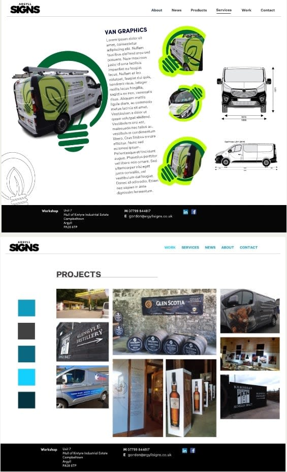 Argyll Signs website designs ideas