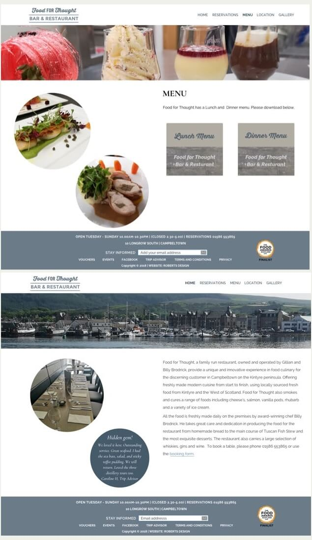 Food for Thought website designs