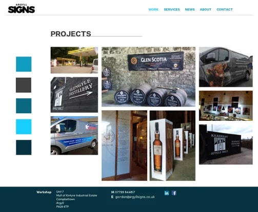 Argyll Signs projects page