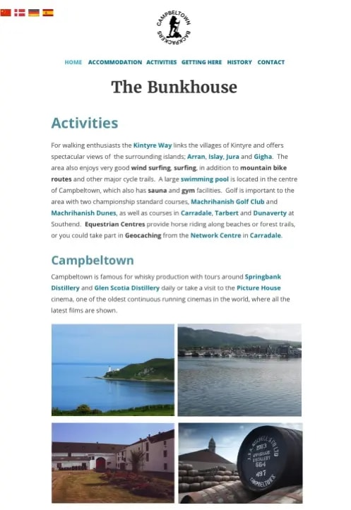 Accomadation page of the Bunkhouse website