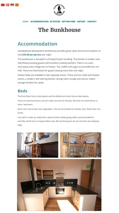 Activities page of the Bunkhouse website