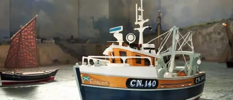 Model boat in the harbour