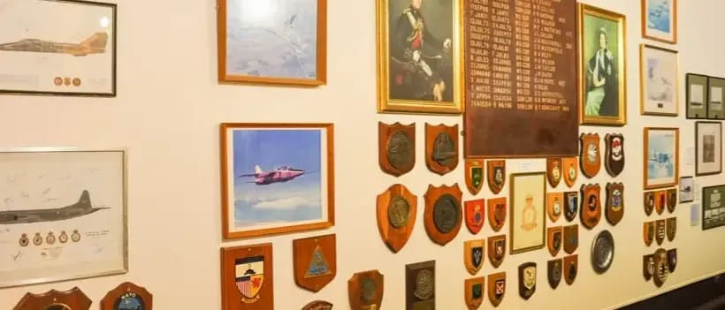 Images and plaques on the walls of the heritage centre