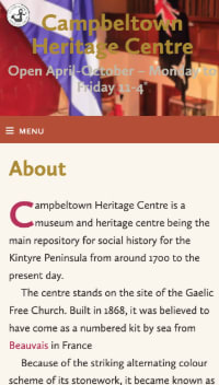 About page of the Heritage Centre website showing a mobile version