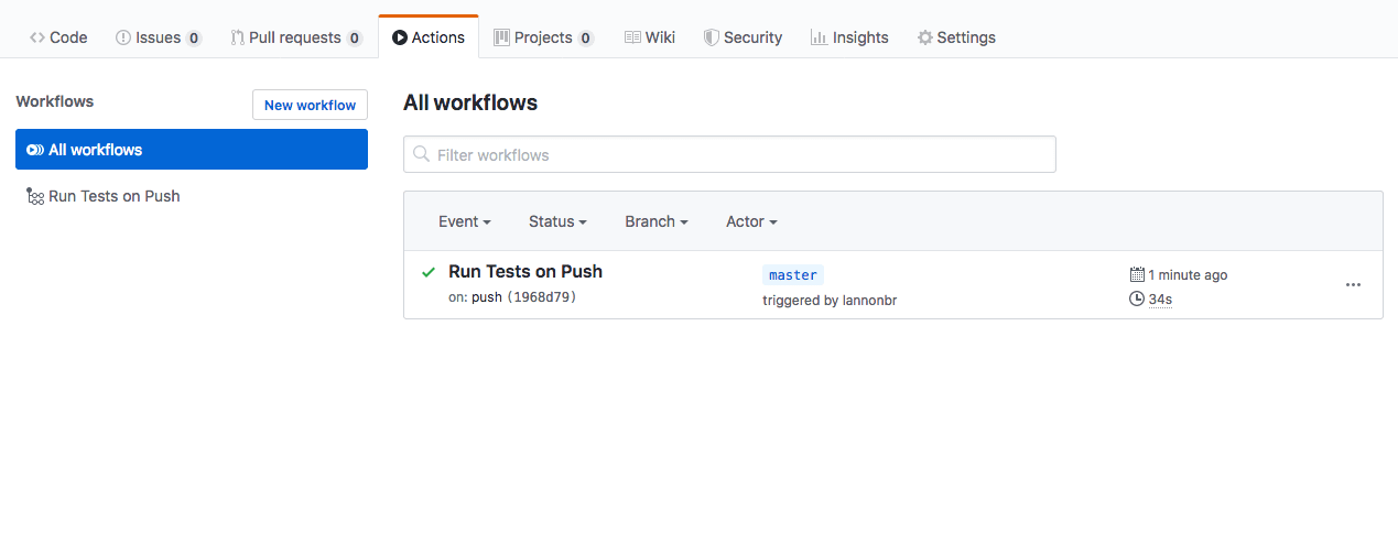 GitHub Actions dashboard that has an entry that is running the workflow that was built