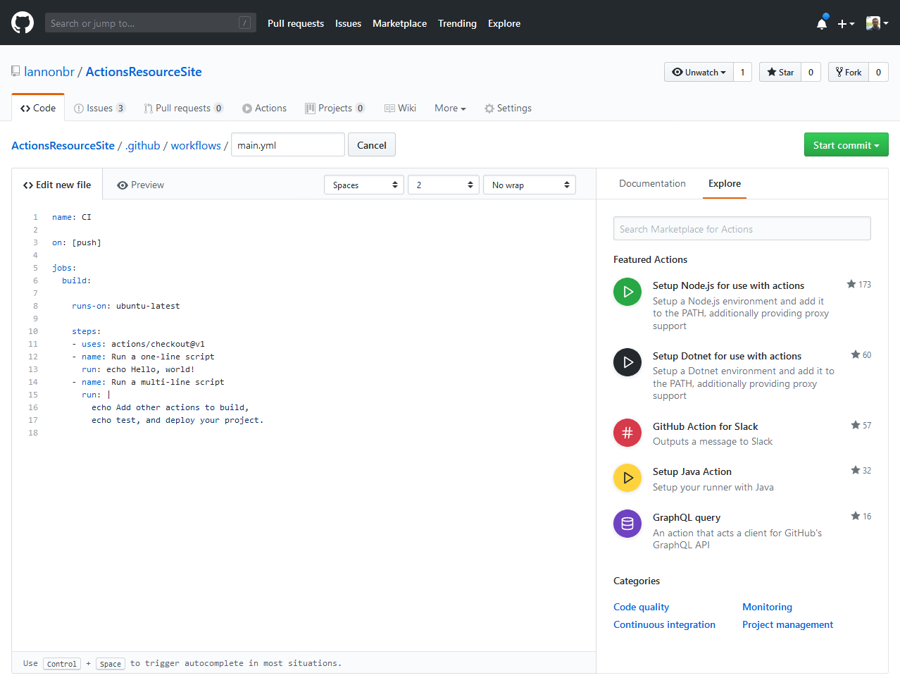 Actions in the workflow editor
