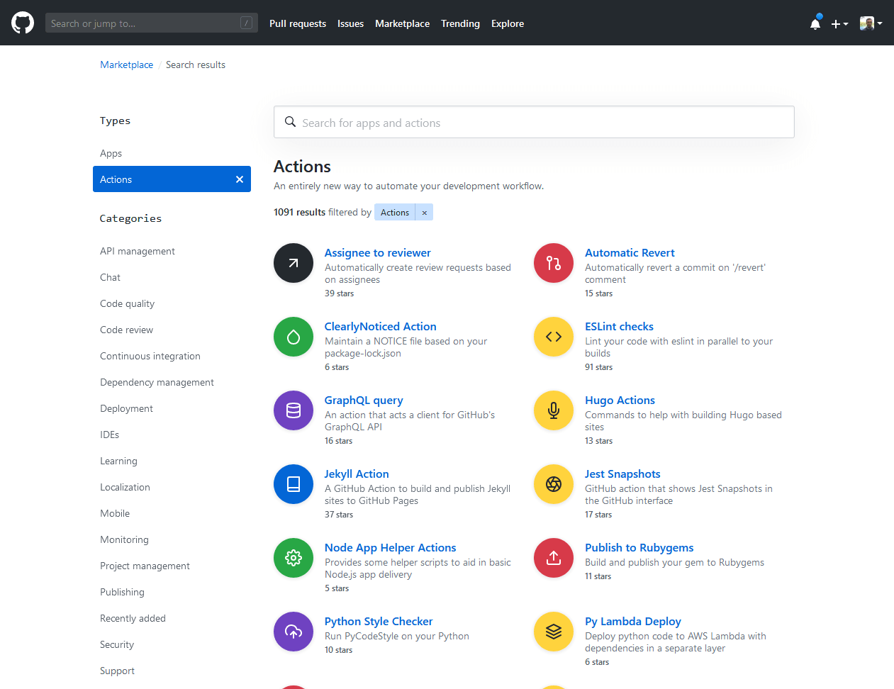 Screenshot of GitHub Marketplace with listings of GitHub Actions