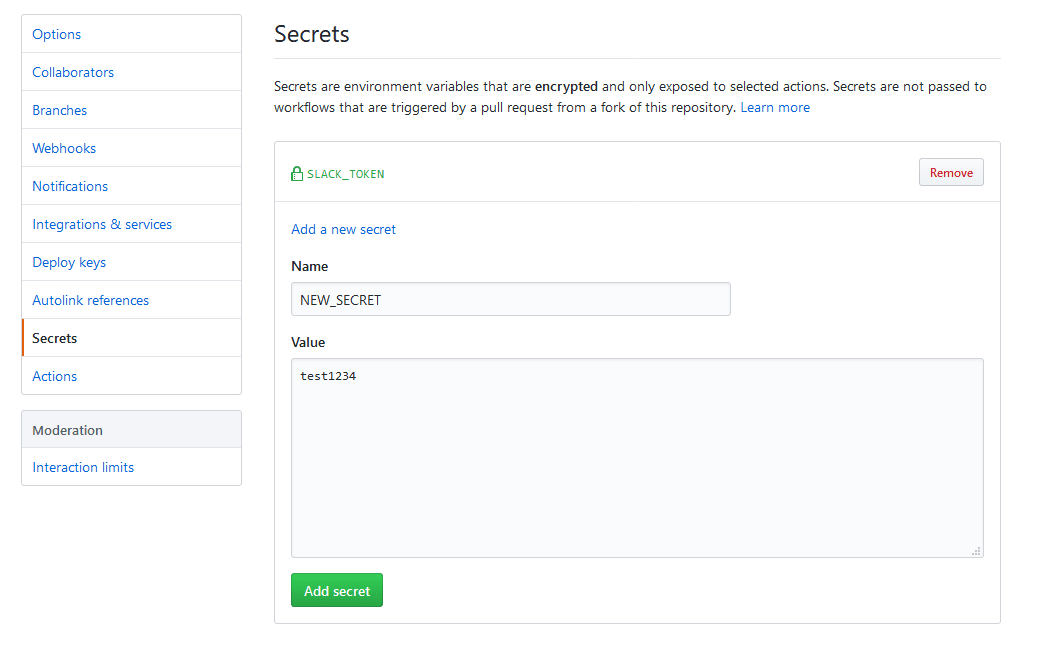 Secrets page