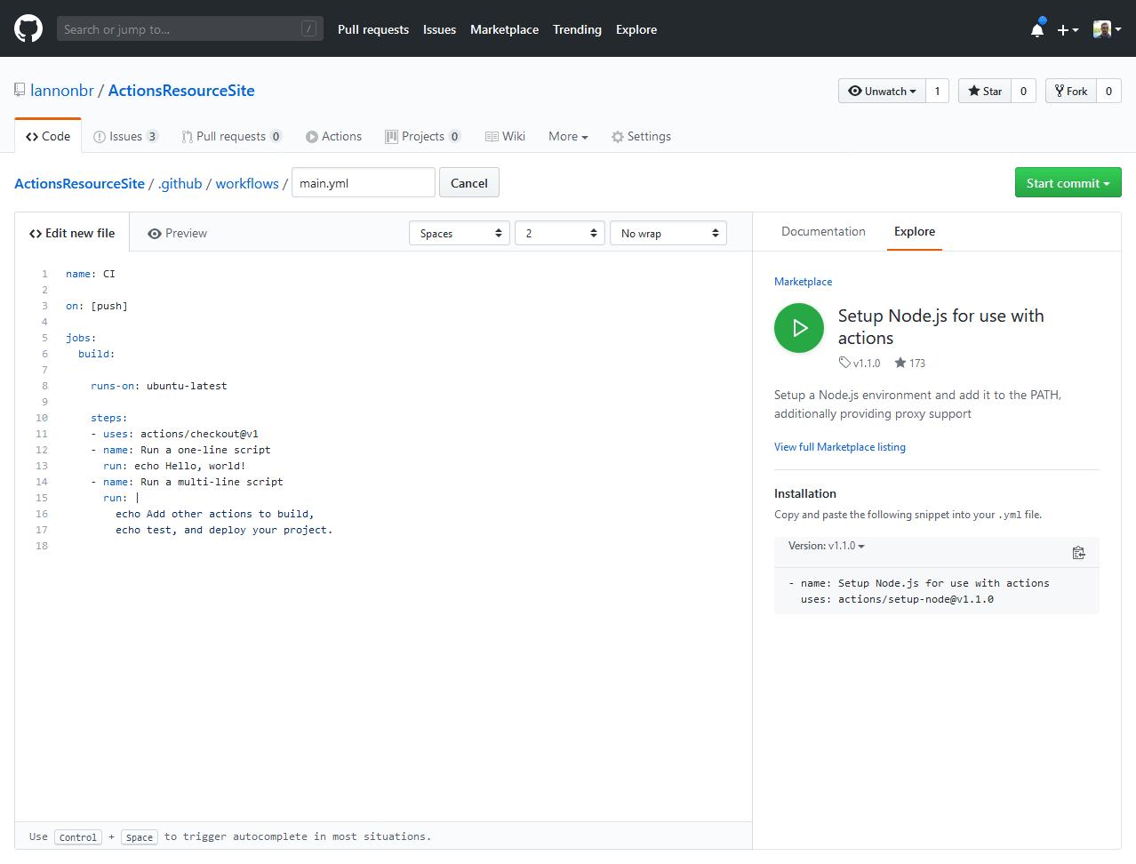 Setup node listing in editor