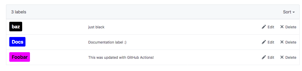 GitHub Actions Labels