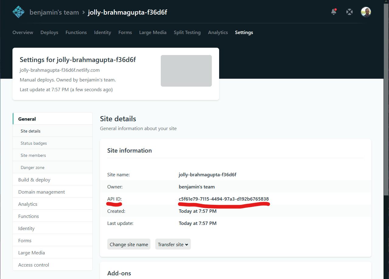 Netlify API ID in Netlify dashboard