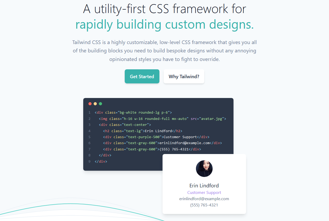 TailwindCSS homepage hero image showcasing small demo how to use Tailwind