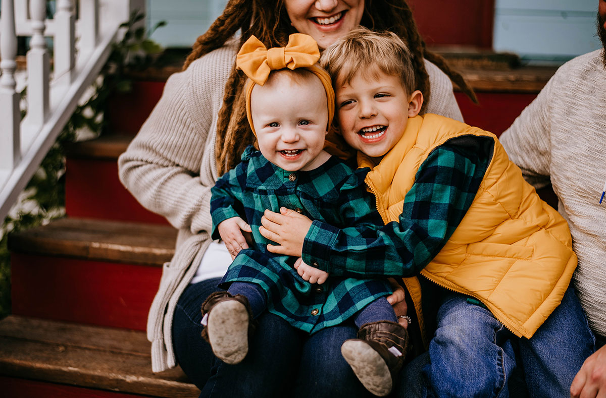 Natalie Broders family portrait, son and daughter