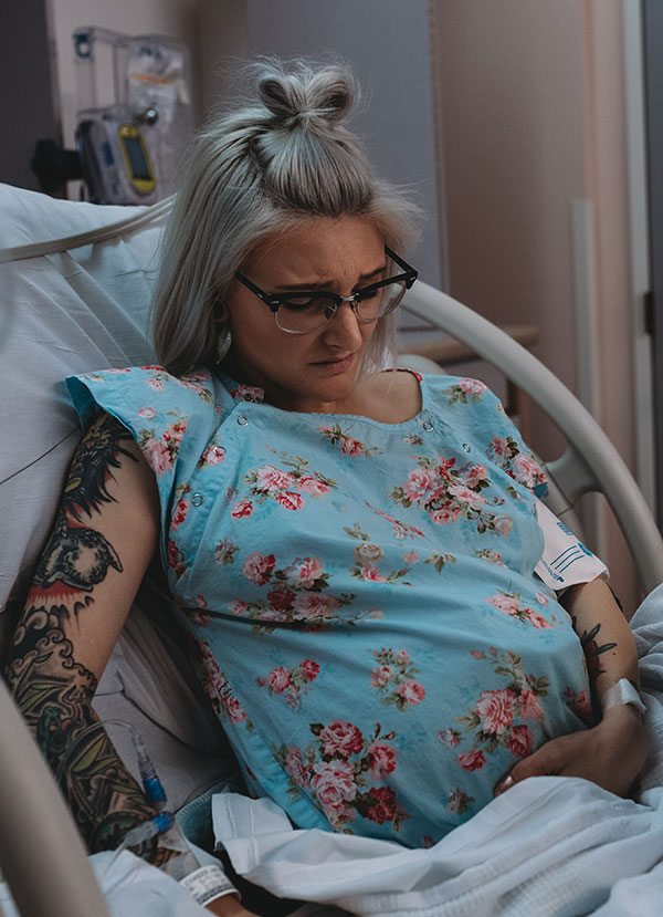 mother in labor closes her eyes at portland hospital birth