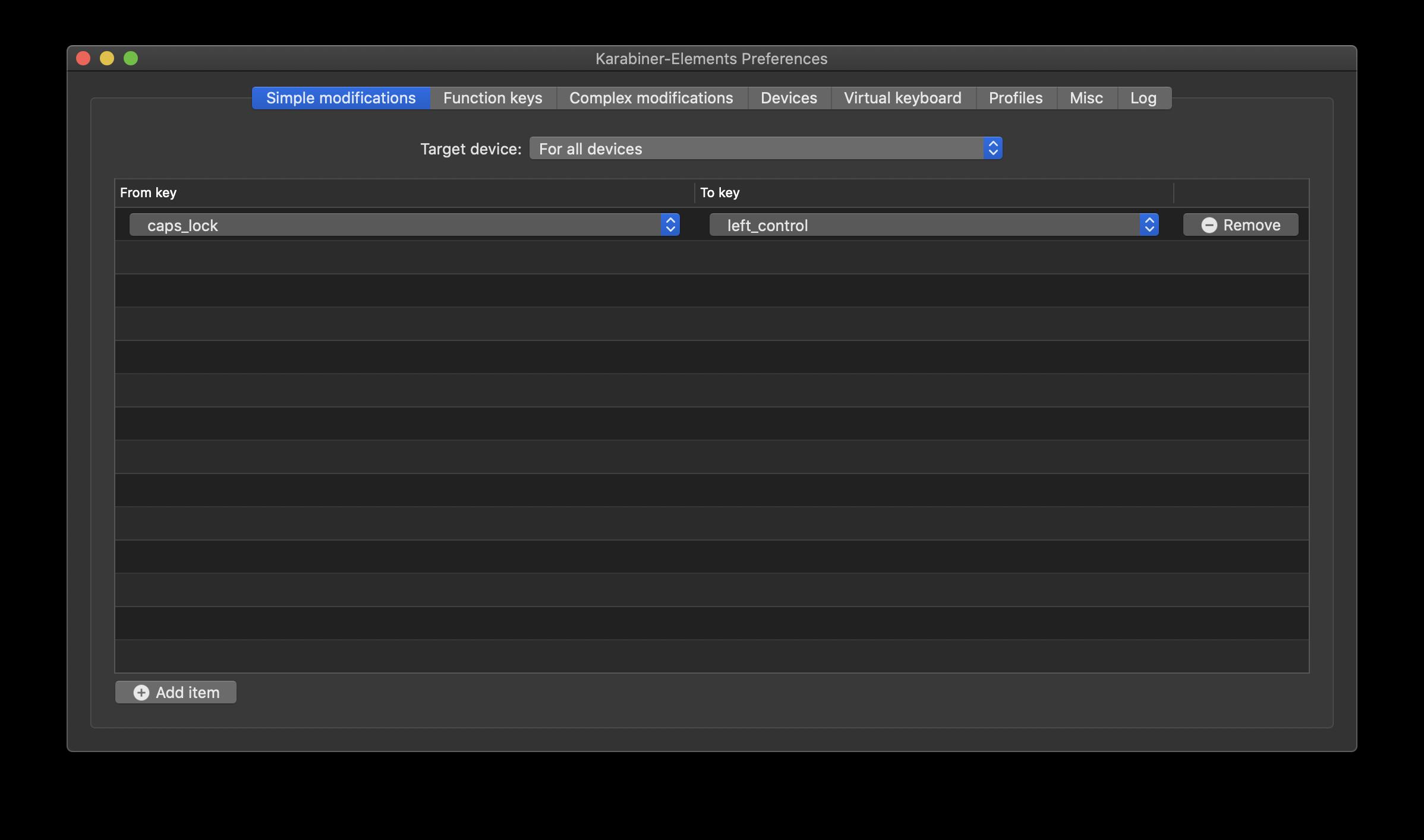 Karabiner-Elementsの設定画面