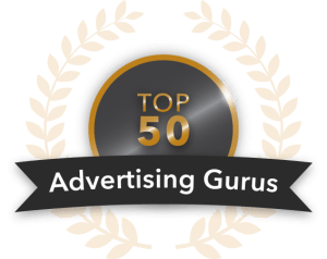 top 50 advertising gurus badge