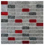 Silver Grey Natural-Glass Red Black Quartzite With Glass