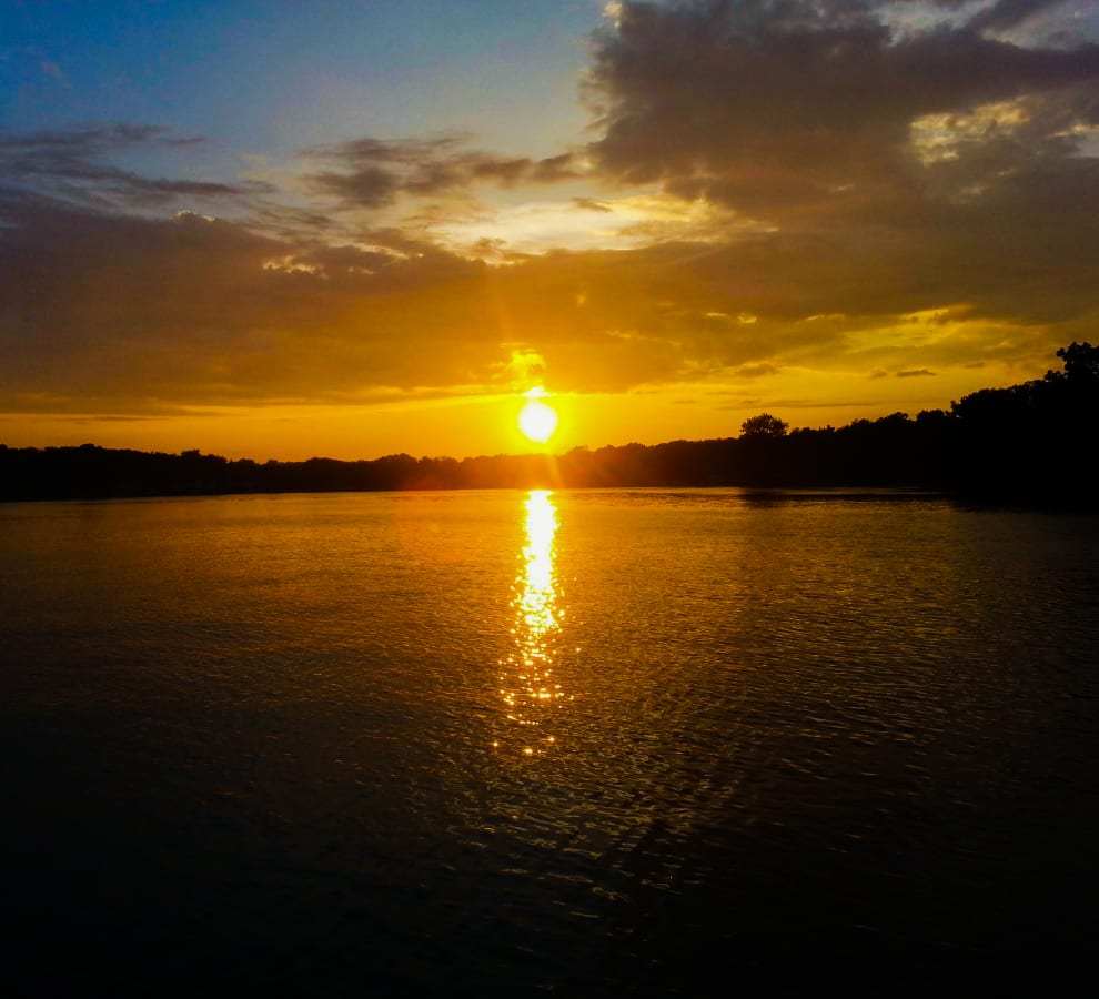 A Glowing Sunset Reflects Beautifully on the Water