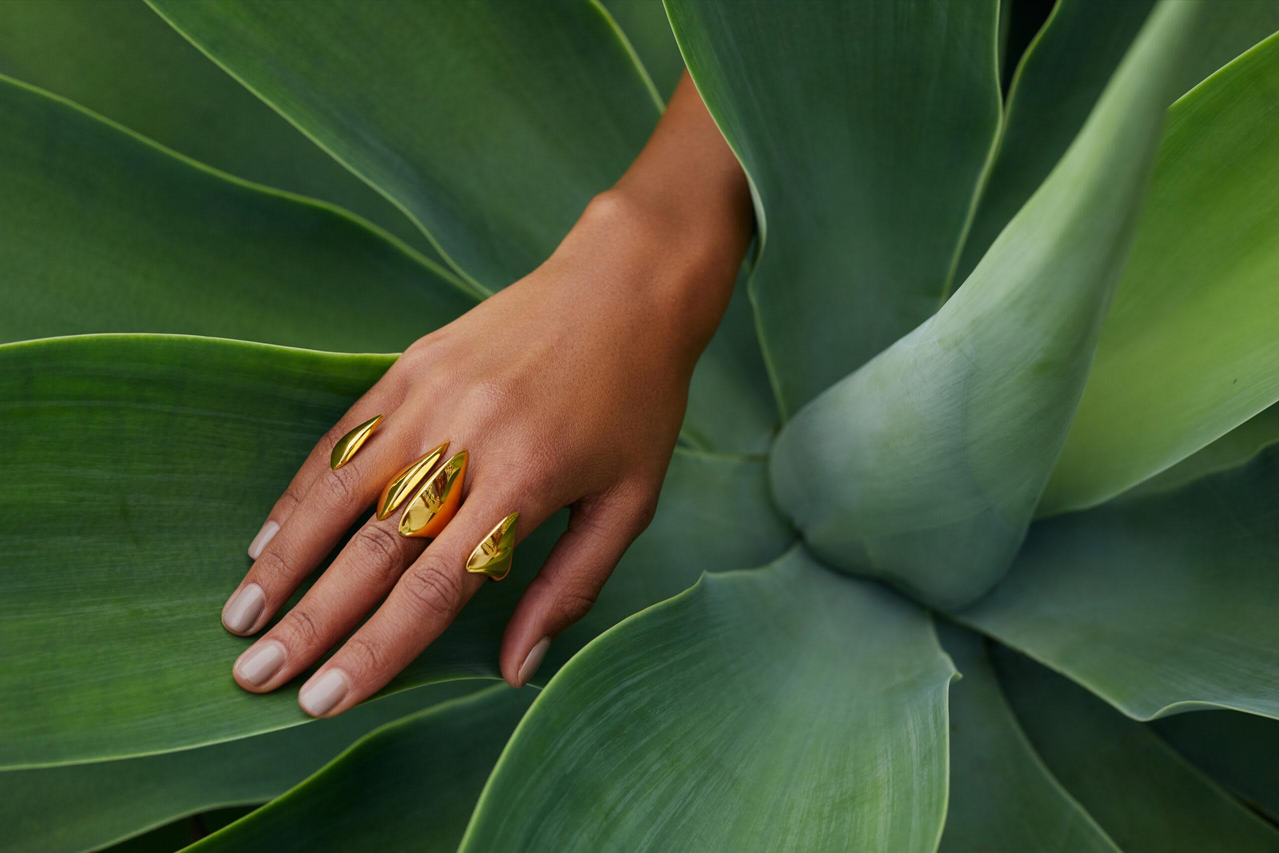 """Swarm Knuckle Ring by Soledad Lowe in nature"""