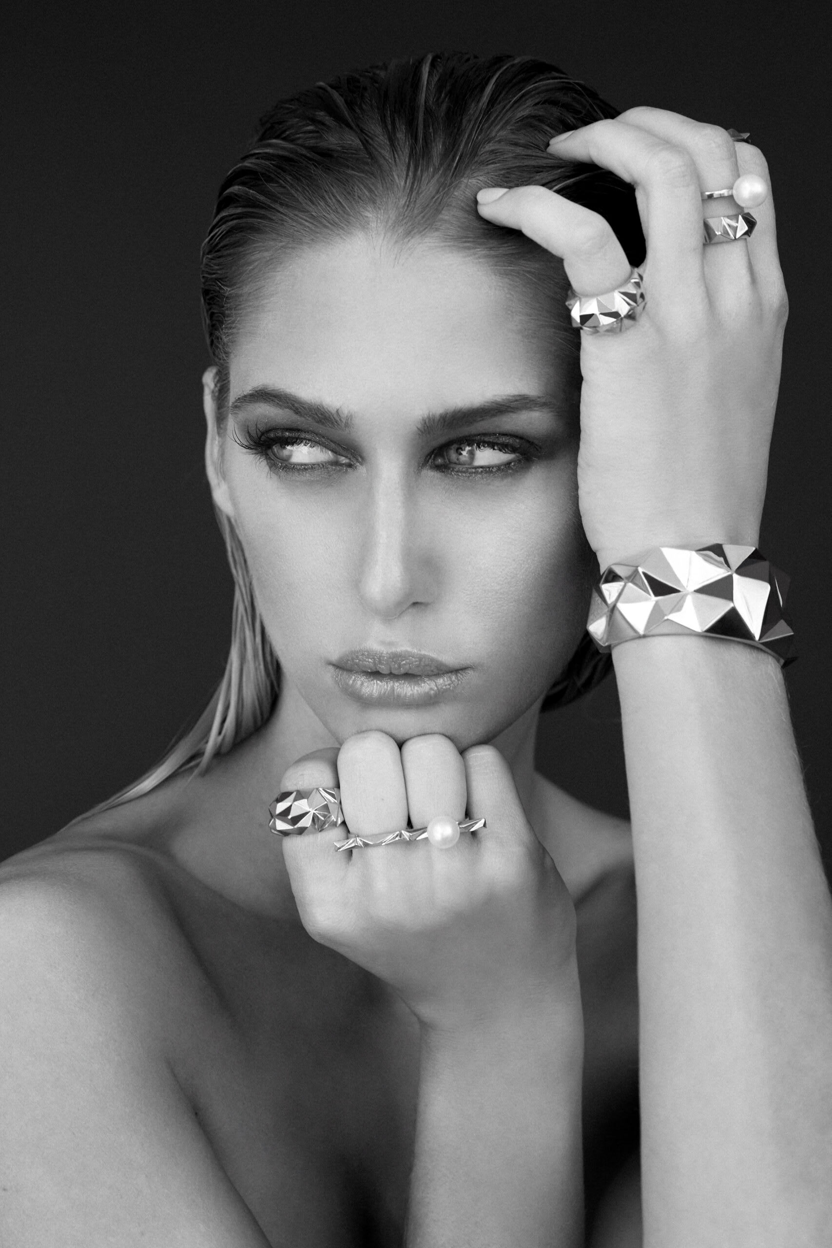 """""""Soledad Lowe Reckon Collection on model black and white"""""""