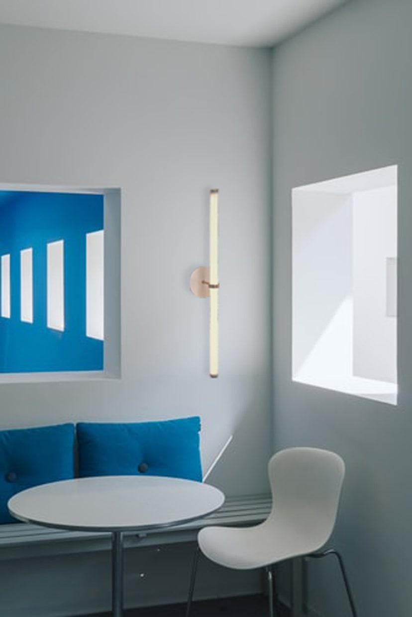 """Naama Hofman Light Objects 014 Brass and ivory blue kitchen"""