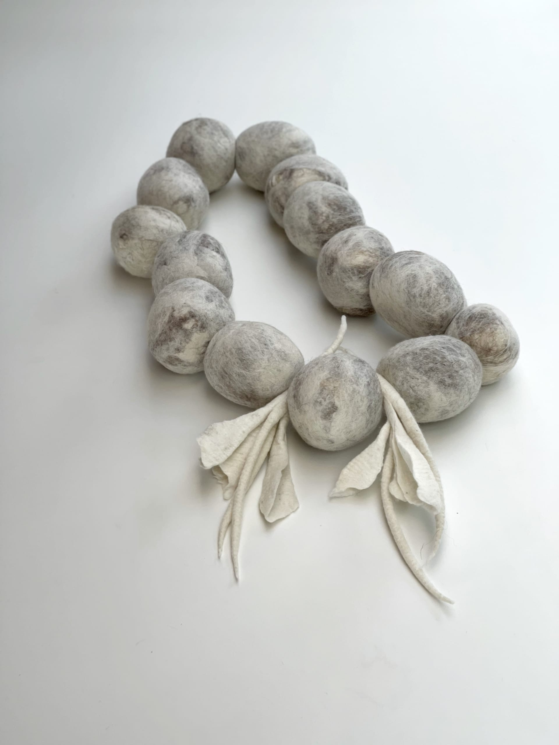 """Ines Schertel ""Tchuco"" table wool necklace alternate view"""