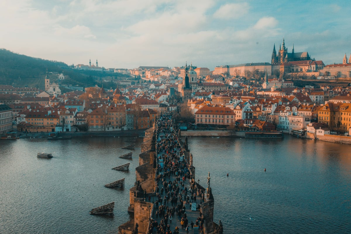 Prague in the Czech Republic, with the castle of Prague and the Karl bridge