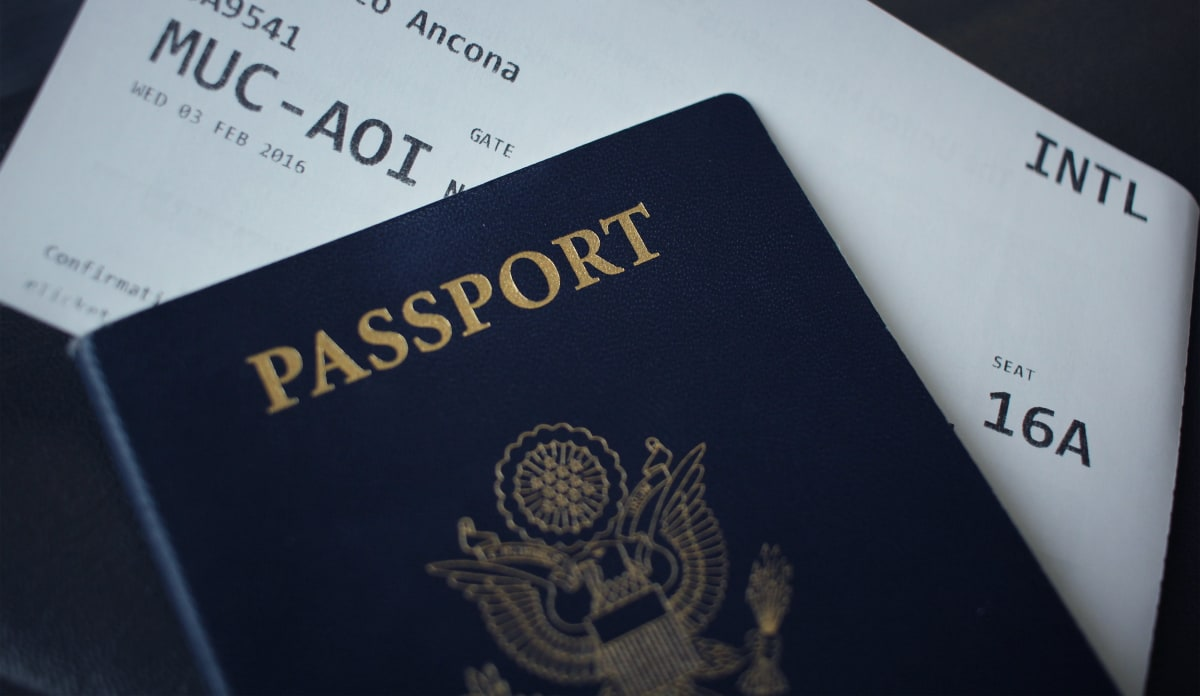Passport with flight ticket