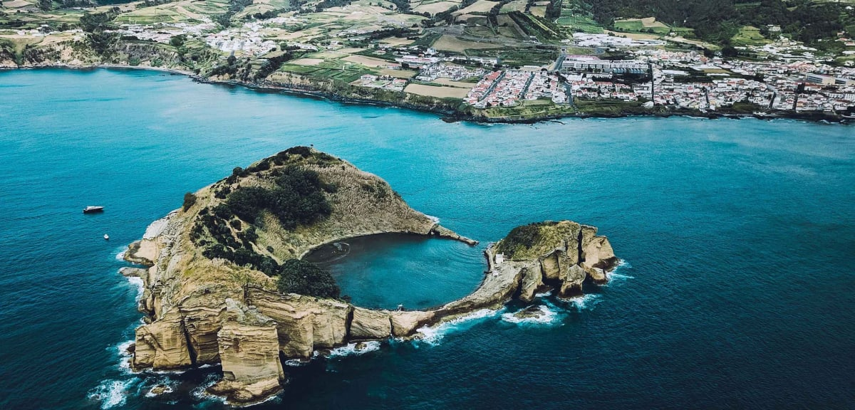 View of the Azores Islands with azure blue water