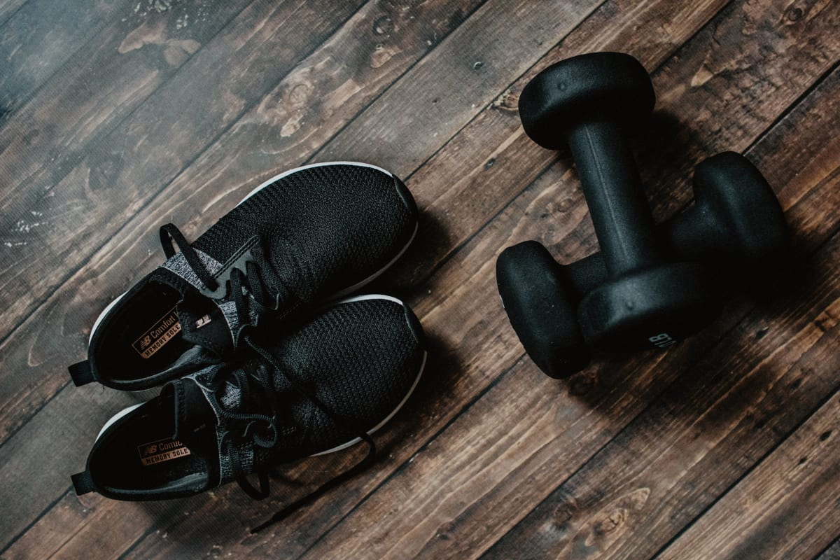 training shoes and weights