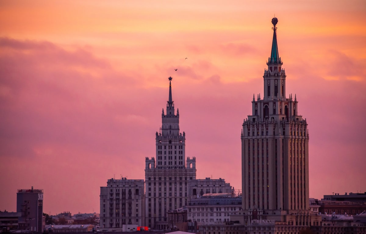 Moscow, the capital of Russia in sunset with two high buildings