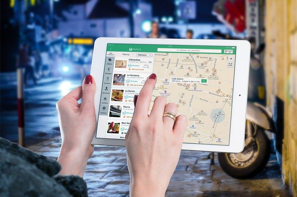 a map app on an ipad