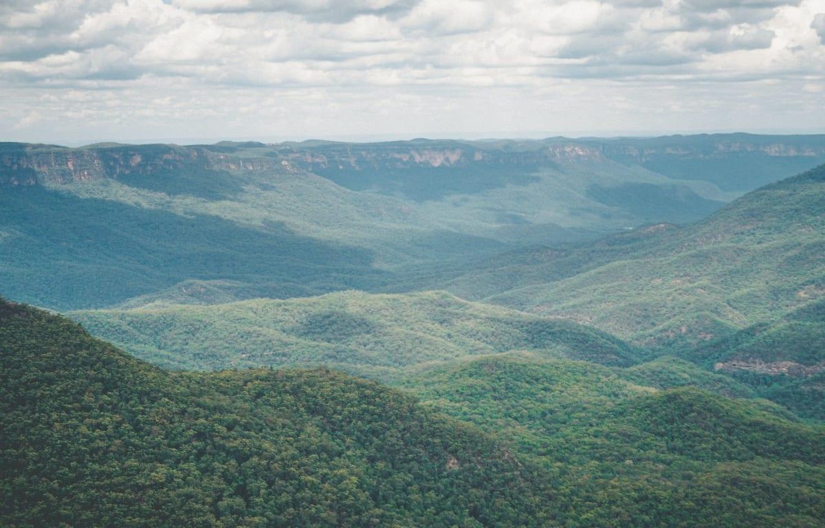 Die Blue Mountains, gelegen in New South Wales in Australien