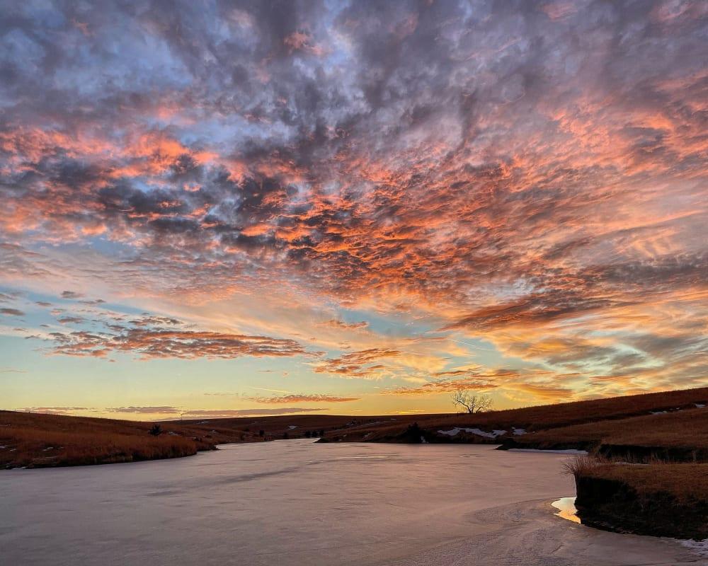 Sonnenuntergang in Nebraska an einem See