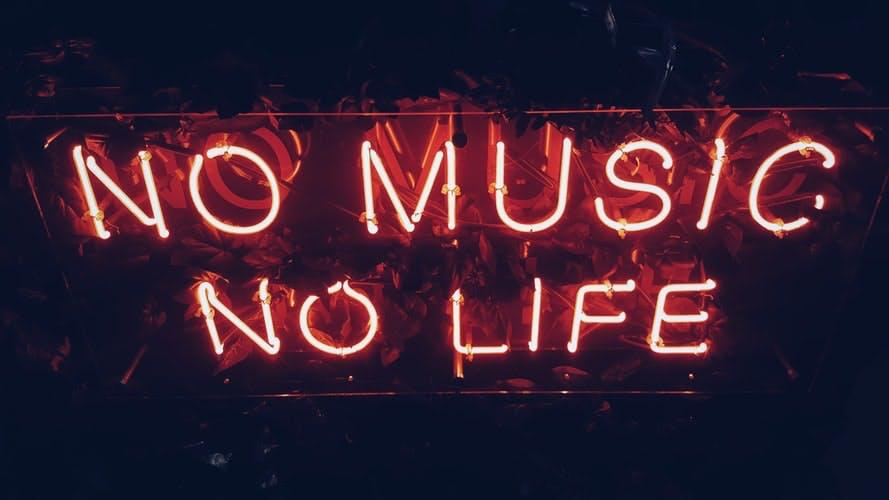 neon writing reading no music no life