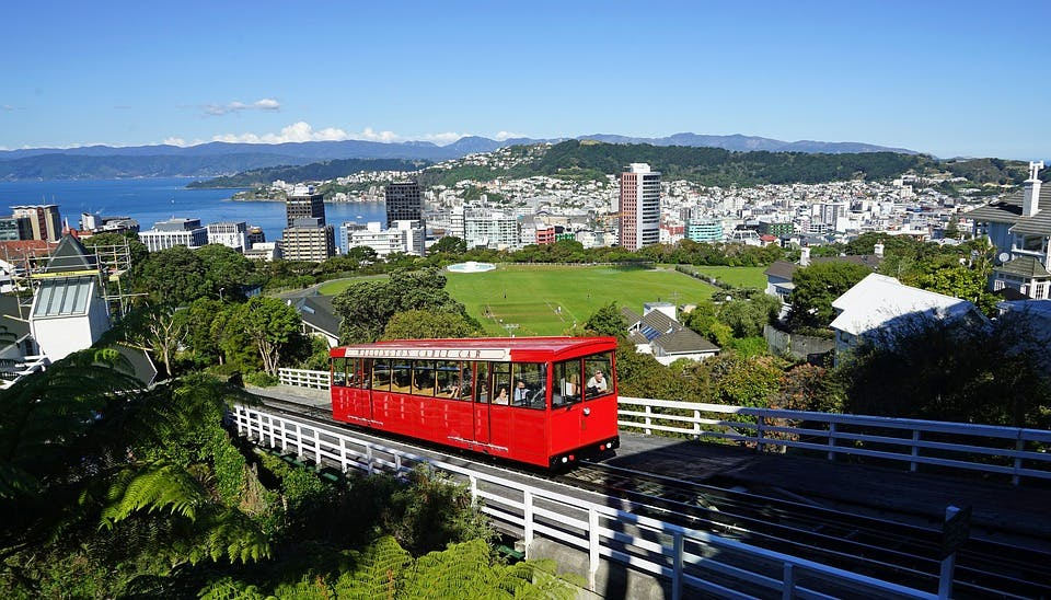 The only cable car in New Zealand travels through Wellington for winter destinations