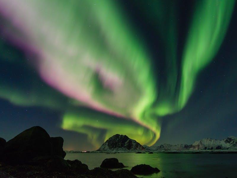 Grüne und lila Nordlichter am Nachthimmel
