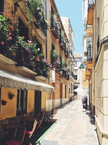 An  narrow medieval lane in Malaga Spain for winter holidays