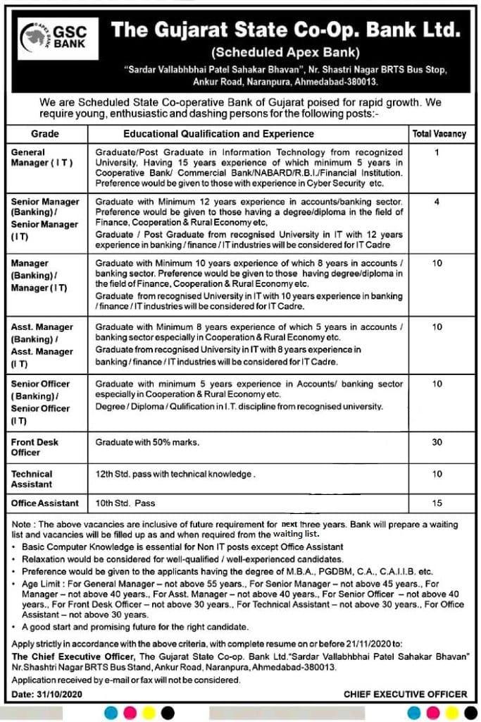 Govt Bank job in Gujrat, Engineer job in gujrat, govt bank job for 10th pass, 12th job in gujrat bank, govt bank job for graduates, latest govt vacancies in gujarat,